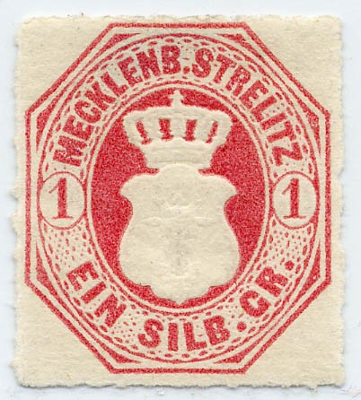 Mecklenb.-Strelitz MiNr. 4 * 1 Silbergroschen / dunkelrosarot