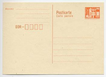 DDR Ganzsache P 87 I * 25 Pf. Bauwerke mit Postleitzahlf.Wz.orange