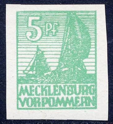 SBZ M./V. MiNr. 32 xa ** FM: 5 Pf geschnitten dickes, weißes Kreidepapier, sog. Abschiedsserie