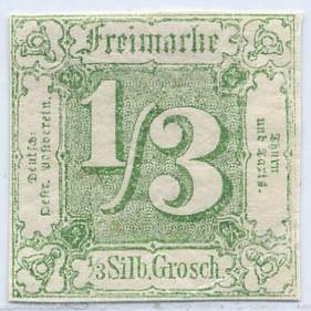 Thurn & Taxis MiNr. 27 * 1/3 Gr., dunkelgelblichgrün, geschnitten