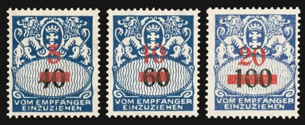 Freie Stadt Danzig Portomarken MiNr. 40/42 ** Portomarken 1932 mit rotbraunem Aufdruck