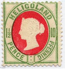Helgoland MiNr. 14d ** 10Pf/1 1/2 P hellgrün/mittelrot
