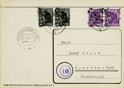 SBZ Allg.A. Ortsbrief mit Bezirksstempel-Marken MiNr. 166+167 als Paare