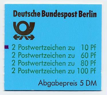 Berlin MH 15 ** mZ / Sehenswürdigkeiten, 1989 mit Zählbalken