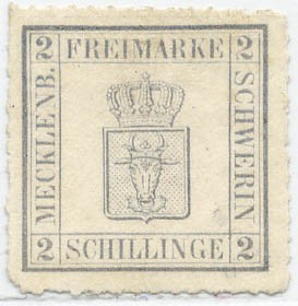 Mecklenb.-Schwerin MiNr. 6b (*) 2 S blaugrau durchstochen