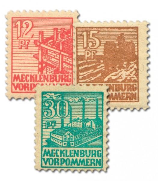 "SBZ M./V. Mi-Nr. 36zb, 37za u. 39za 3 Freimarken d. Abschiedsserie SBZ ""z-Papier"" **"