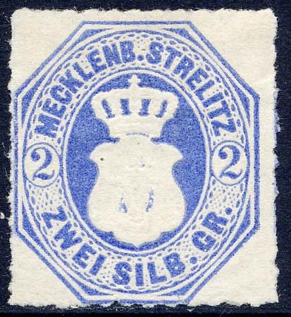 Mecklenb.-Strelitz MiNr. 5 (*) 2 Silbergroschen / grauultramarin