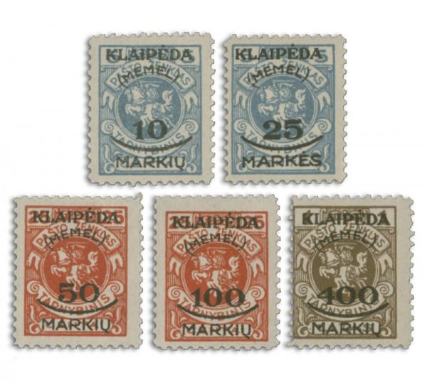 Memelgebiet MiNr. 124/128 **, 5 Werte Freimarken Litauen mit Aufdruck