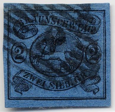 Braunschweig MiNr. 7a o 2 Silbergroschen / schwarz auf blau