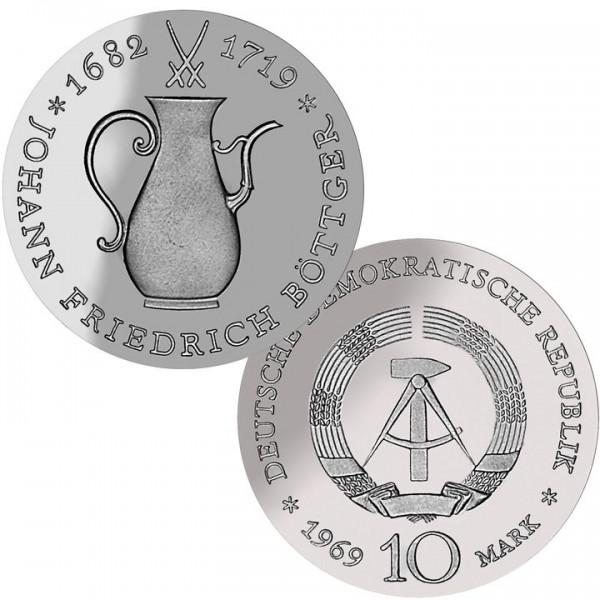 DDR Münze 1969, 10 M, st 250. Todestag J. F. Böttger