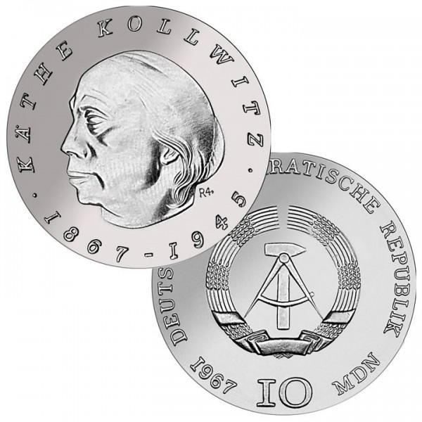 DDR Münze 1967, 10 M, st 100. Geburtstag Käthe Kollwitz