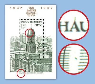 DDR Bl. 84 ** mit Plattenfehler 750 Jahre Berlin, dazu 1 Vgl.-Stück