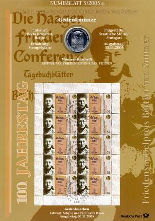 BRD Numisblatt 5/2005 100 Jahre Friedensnobelpreis Bv. Suttner