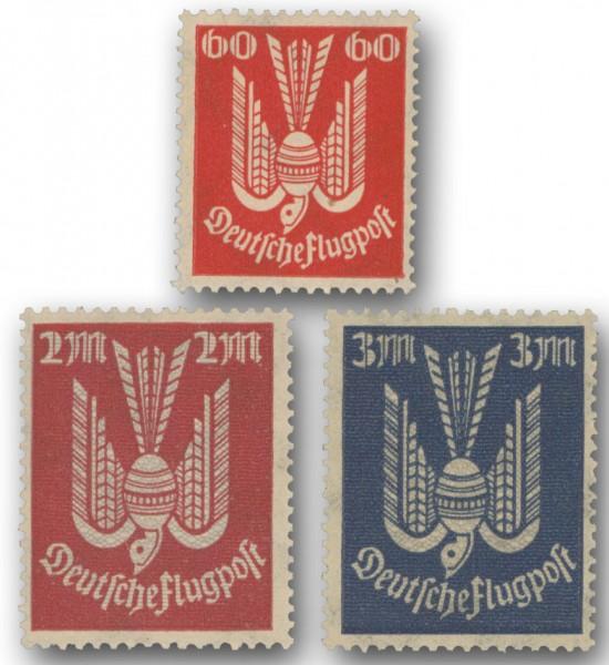 """Dt. Reich Farben-Set """"Holztaube"""" ** MiNr. 213b, 216b, 217a, 3 Werte, geprüft"""