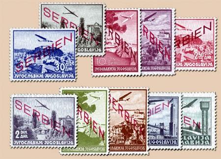 Dt. Besetzung Serbien MiNr. 16-25 ** Flugpostmarken mit Aufdruck Serbien (10 Werte)