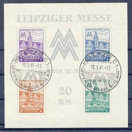 SBZ West-Sa. MiNr. Bl. 5Y o Leipziger Messe 1946
