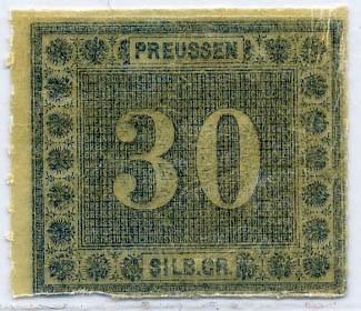 Preußen MiNr. 21 ** 30 Sgr grünl.blau
