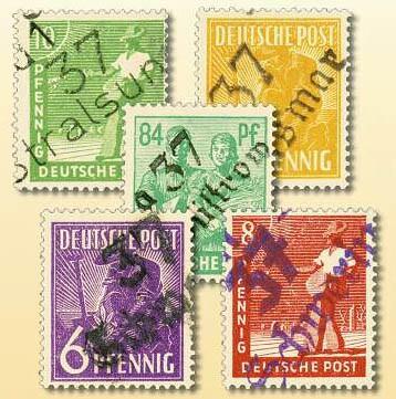 SBZ Allg.A. MiNr. 166-181 VIII ** (ohne 179) gepr. Bezirks-Handstempel-Aufdruck 37 - OPD Schwerin