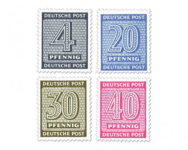 SBZ West-Sa. MiNr. 127/36 Xz ** (4 Werte) Freimarken: Ziffern II auf gestr.Kreidepapier