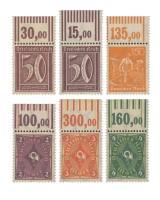 "Dt. Reich ""Ziffern, Arbeiter, Posthorn"" ** Oberränder MiNr. 183aW, 183bW, 189W, 191W-193W"