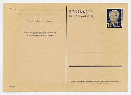 DDR Ganzsache P 51/02 * 12/12Pf (III/18/185) Wilhelm Pieck I