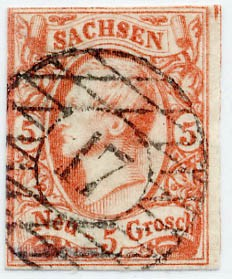 Sachsen MiNr. 12ax o / gemaschtes Papier 5 Ngr./ König Johann I. /ziegelrot