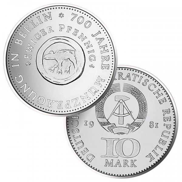 DDR Münze 1981, 10 M, st 700 Jahre Münzprägung in Berlin