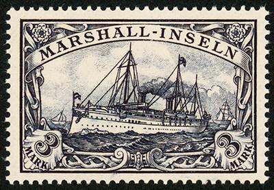 Dt. Kolonien Marshall-Inseln MiNr. 24 ** 3 M große Kaiseryacht