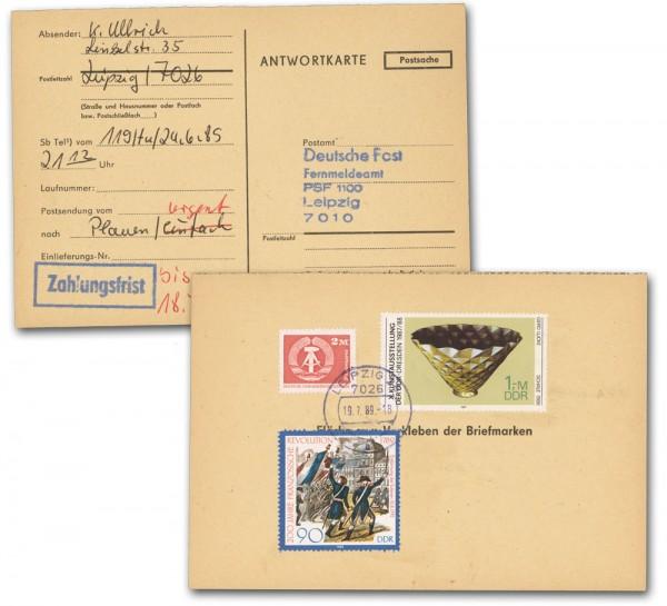 DDR Telegrammgebühren-Einzugskarte Antwortkarte