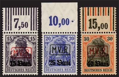 """Dt. Besetzung Rumänien MiNr. 1/3 OR ** Germania-Satz m. gerahmtem Aufdruck """"M.V.i.R."""""""