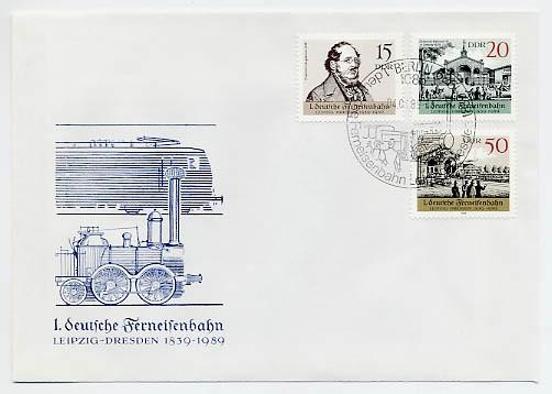 DDR FDC MiNr. 3238/40 Dt. Ferneisenbahn Leipzig-Dresden