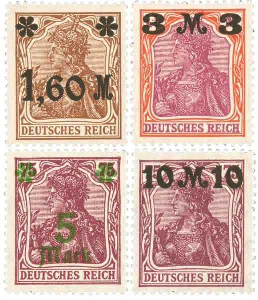 Dt. Reich MiNr. 154/57II ** FM: Germania (IX), 4 Werte