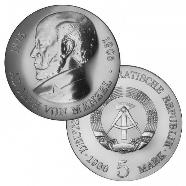 DDR Münze 1980, 5 M, PP 75. Todestag Adolph von Menzel