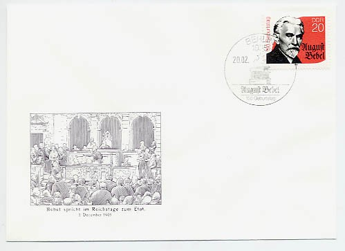 DDR FDC MiNr. 3310 150. Geb. August Bebel