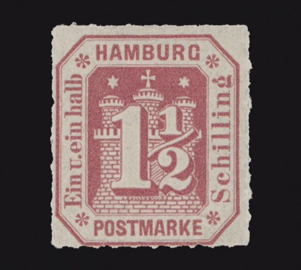 Hamburg MiNr. 21 ** 1 1/2 Schilling / karmin / durchstochen