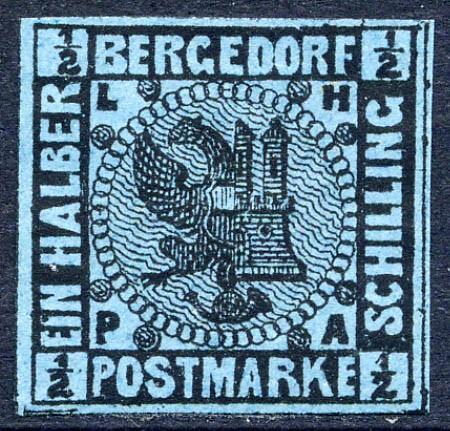 Bergedorf MiNr. 1a * 1/2 Schilling / preußischblau