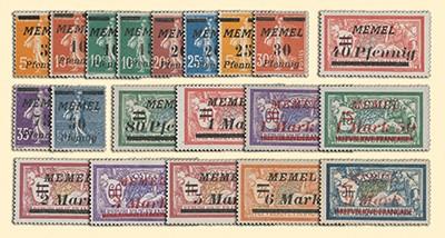 Memelgebiet MiNr. 52/71 ** Freimarken Frankreich mit Aufdruck
