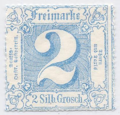 Thurn & Taxis MiNr. 39 * 2 Gr., blau, durchstochen