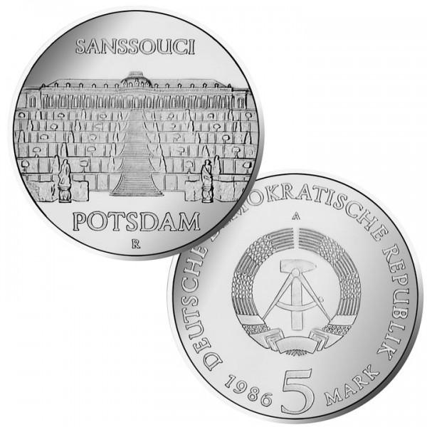 DDR Münze 1986, 5 M, PP Schloß Sanssouci Potsdam
