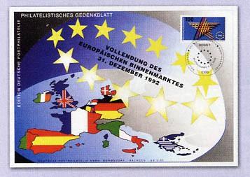 BRD Gedenkblatt Vollendung d.eur.Binnenmarktes