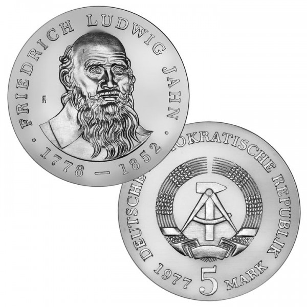 DDR Münze 1977, 5 M, st 125. Todestag F. Ludwig Jahn