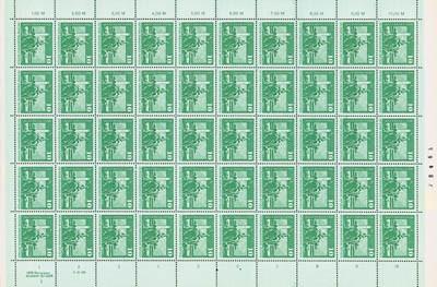 DDR Bogen 1843IdRWZ/LI ** 10Pf Freimarken: Aufbau in der DDR (groß)