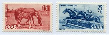 Saarland MiNr. 265/66 ** Tag des Pferdes