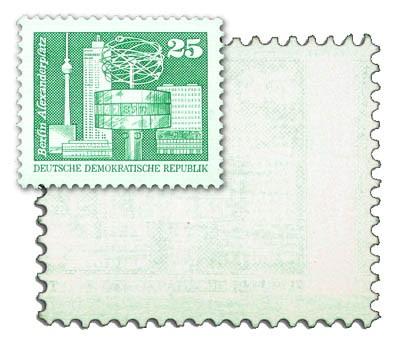 """DDR MiNr. 2521 ** 25 Pf, als Blinddruck Aufbau-Freimarke """"Berlin Alexanderplatz"""""""