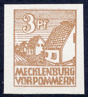 SBZ M./V. MiNr. 29xa ** FM: 3 Pf geschnitten dickes, weißes Kreidepapier, sog. Abschiedsserie