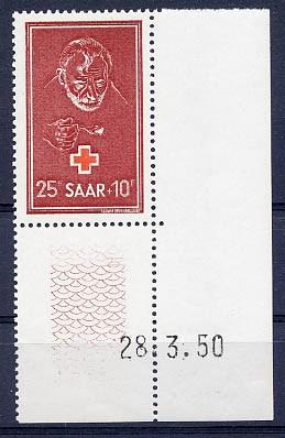Saarland MiNr. 292 Br** Rotes Kreuz, Randst.mit Druckdatum
