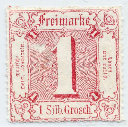 Thurn & Taxis MiNr. 38 * 1 Gr., karminro, durchstochen