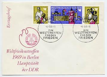 DDR FDC MiNr. 1478/80 Zdr. Weltfriedenstreffen