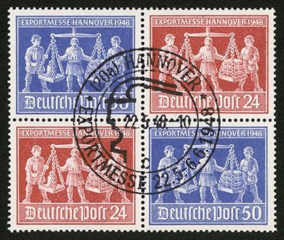 All.Bes.GA MiNr. 969/70 VZd1 mit Sonderstempel Exportmesse Hannover 1948