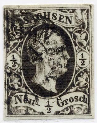 Sachsen MiNr. 3b o 1/2 Ngr. /Friedrich August II / grüngrau